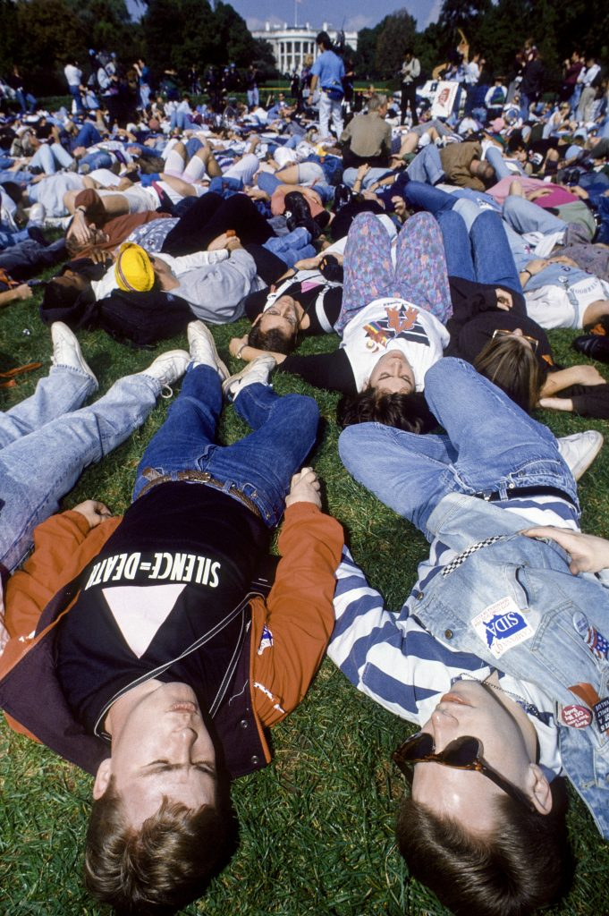 AIDS activist group ACT UP stage a 'DIE IN' protest  - Washington DC., May 12, 1992. pink_act_up_LGBTQ